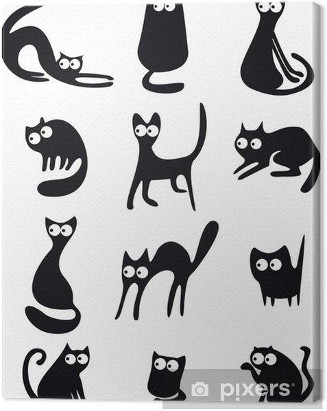 Tableau sur toile Silhouettes de chat noir - Mammifères