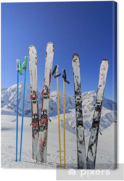 Tableau sur toile Ski, montagnes et des équipements de ski sur les pistes de ski - Thèmes