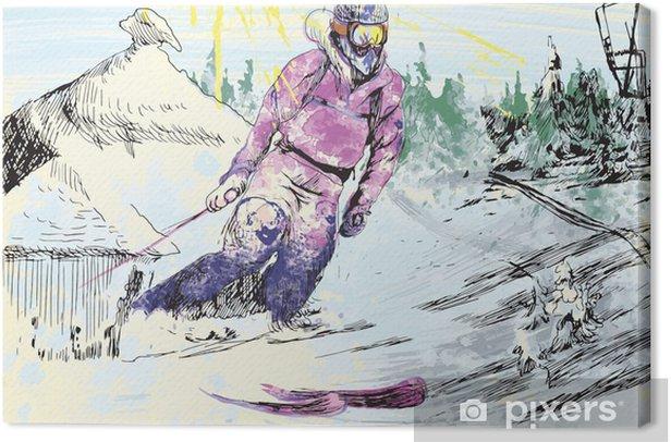 Tableau sur toile Skieur - dessin à la main - Sports individuels
