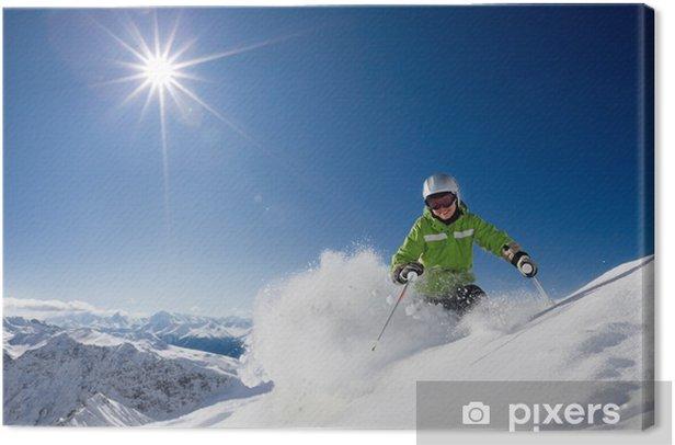 Tableau sur toile Skieuse heureux avec vue sur la montagne - Sports d'hiver