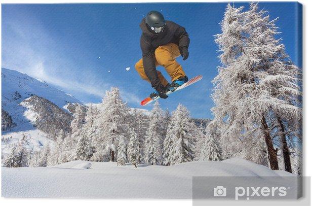 Tableau sur toile Snowboarder dans fresca neve - Sports d'hiver