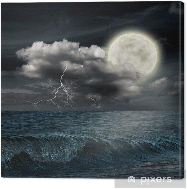 Tableau sur toile Soir de tempête sur l'océan et la lune - Thèmes