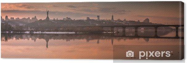 Tableau sur toile Soirée d'hiver, panorama de la belle ville, vue sur la lavra kiev-pechersk, rivière dnipro, kyiv, ukraine - Paysages
