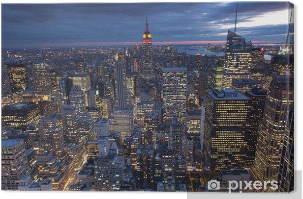 Tableau sur toile Soirée vue de la ville de New York, USA -