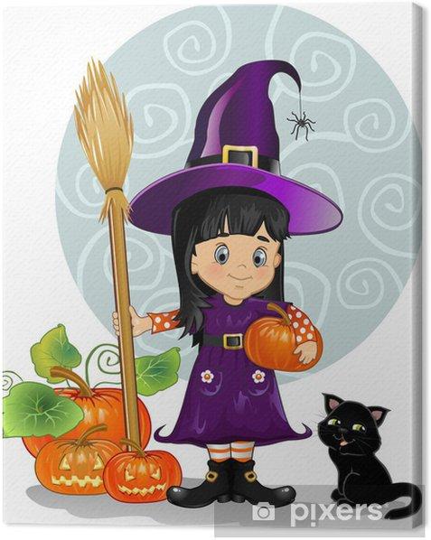 Tableau sur toile Sorcière fille avec le chat et les citrouilles - Fêtes internationales