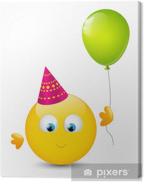 Tableau sur toile Souriant mignon avec le ballon brillant - Célébrations