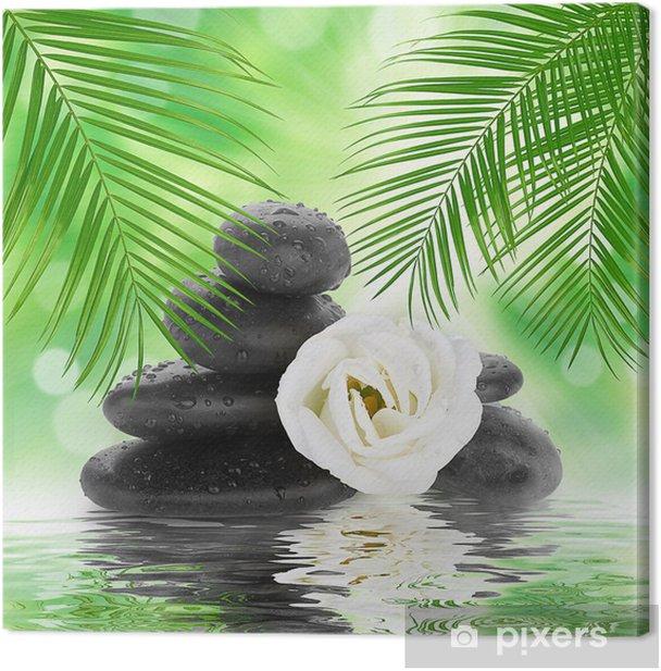 Tableau sur toile Spa de fond - pierres noires et bambou sur l'eau - Textures
