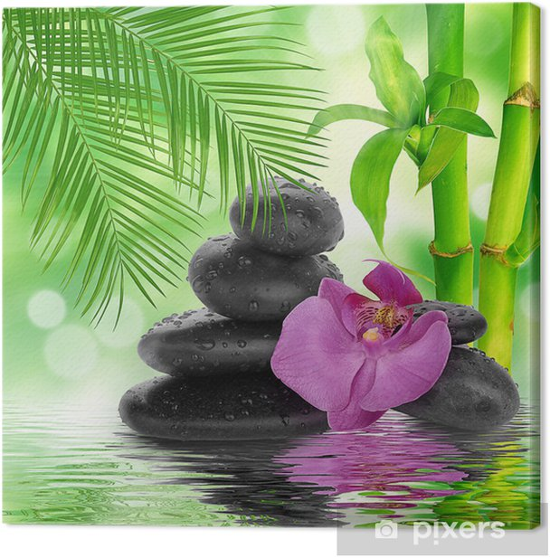 Tableau sur toile Spa de fond - pierres noires et bambou sur l'eau - Thèmes