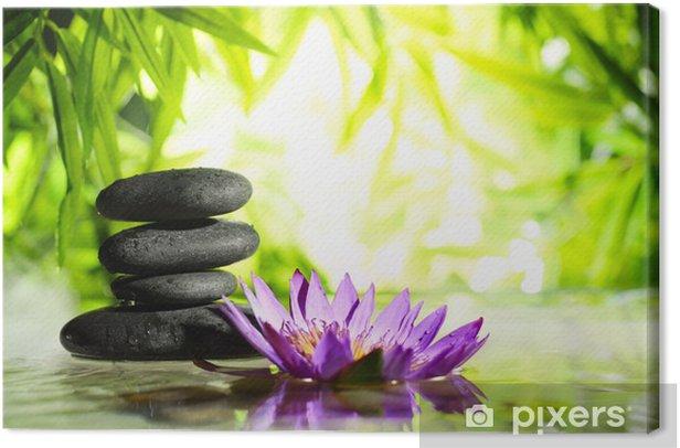 Tableau sur toile Spa encore la vie avec lotus et de la pierre zen sur l'eau - Styles