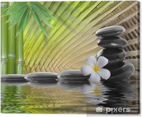 Tableau sur toile Spa pierres, bambou avec frangipanier - Fleurs et plantes