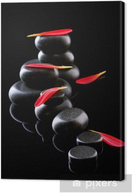 Tableau sur toile Spa pierres et des pétales sur fond noir - Fleurs