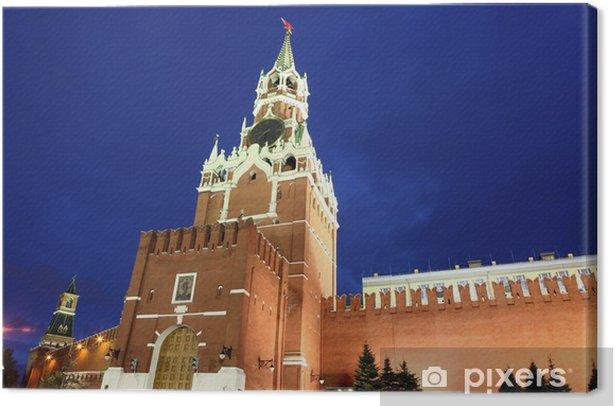 Tableau sur toile Spassky et Nabatnaya tours du Kremlin de Moscou à la Place Rouge à - Autres