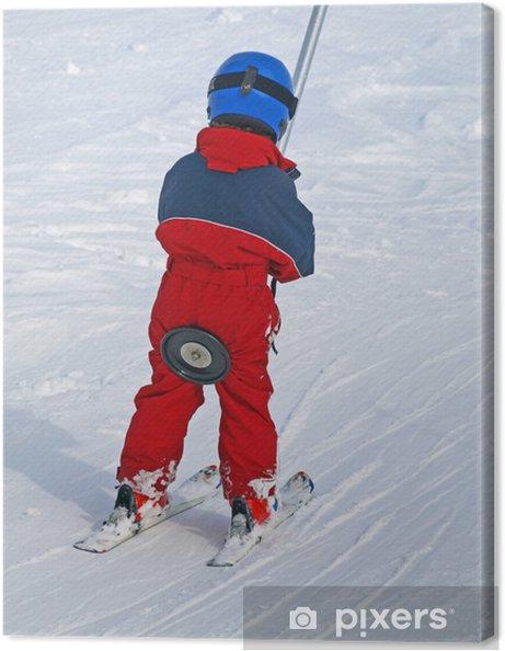 Tableau sur toile Sport d'hiver enfant en téléski - Vacances