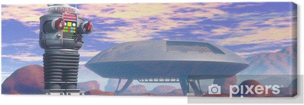 Tableau sur toile Srobot et vaisseau spatial - Temps