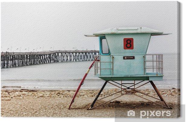 Tableau sur toile Stand de sauveteur et de planche de surf à Ventura Pier - Eau