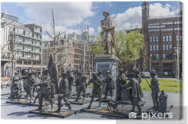 Tableau sur toile Statue de Rembrandt à Amsterdam, Pays-Bas - Villes européennes