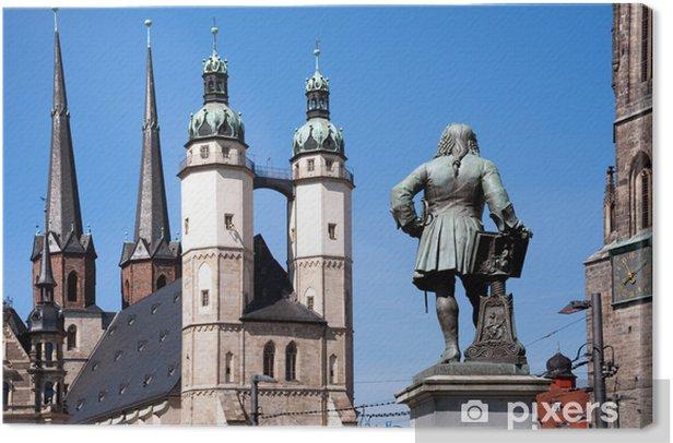 Tableau sur toile Statue Saale Handel en face de l'église du marché - Halle - Bâtiments publics