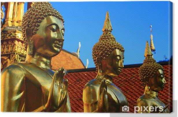 Tableau sur toile Statues de Bouddha dorées à l'or fin - Asie