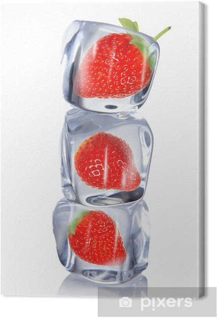 Tableau sur toile Strawberry in ice cube - Fraises