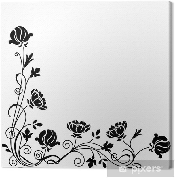 Tableau sur toile Stylisé floral de branche de remous noir et blanc - Art et création