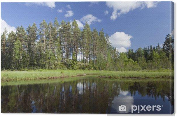 Tableau sur toile Summer Lake en Suède, Grand angle photo - Eau