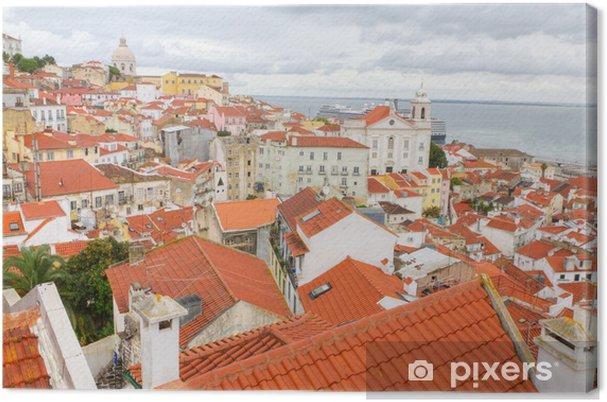 Tableau sur toile Sur les toits rouges de Lisbonne, Portugal - Villes européennes