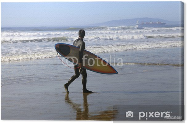 Tableau sur toile Surfer sur une côte - Sports individuels