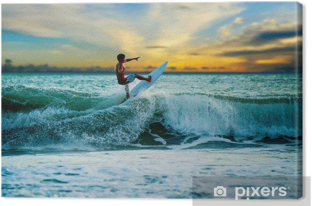 Tableau sur toile Surfeur athlétique avec planche - Divertissements