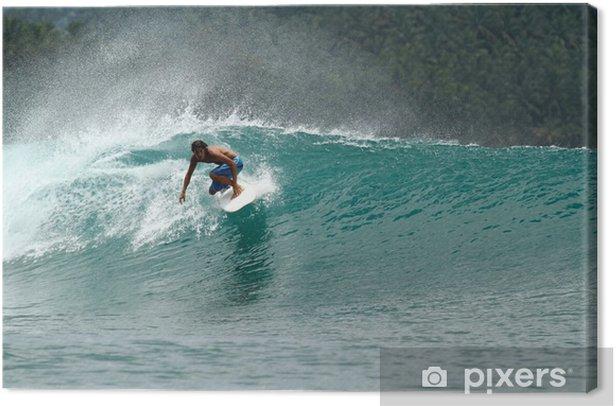 Tableau sur toile Surfeur de vitesse sur la vague verte tropicale - Thèmes