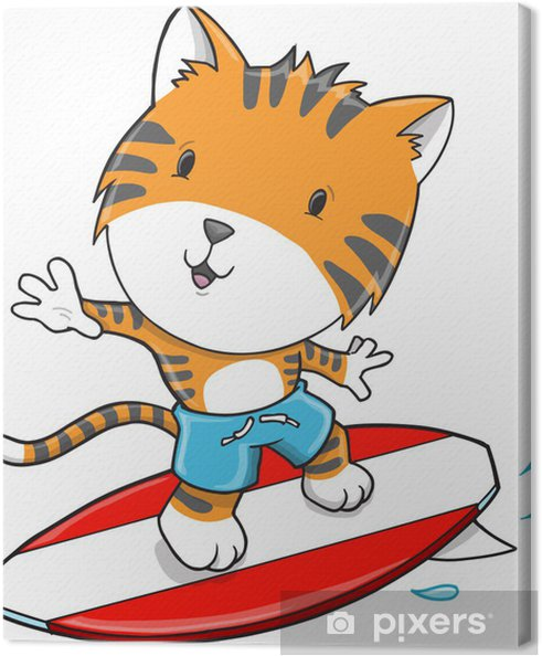 Tableau sur toile Surfing Tiger Vector Illustration Art - Mammifères