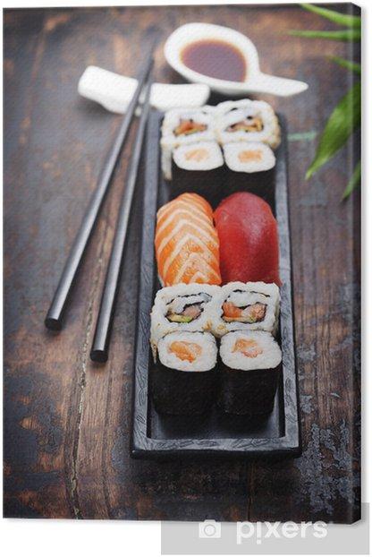 Tableau sur toile Sushi avec des baguettes - Sushi