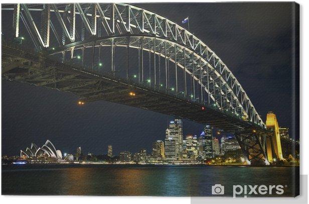 Tableau sur toile Sydney Harbour Bridge en Australie dans la nuit - Thèmes