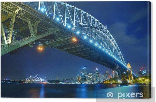 Tableau sur toile Sydney Skyline et Harbour Bridge de nuit - Océanie