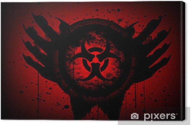 Tableau sur toile Symbole Biohazard sur le cercle et la main fond abstrait - Thèmes