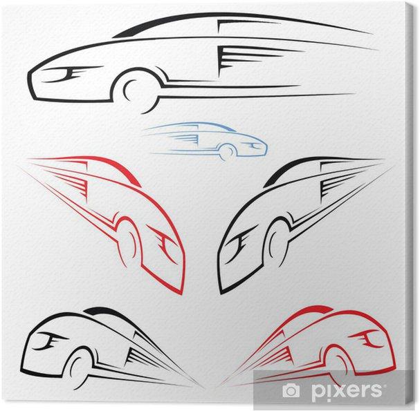 Tableau sur toile Symbole de voiture rapide - Sur la route