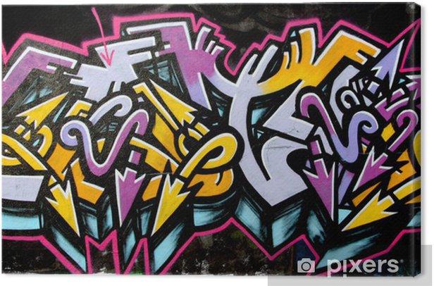 Tableau sur toile Tag graffiti jaune et violet - Art et création