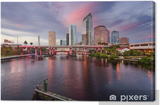 Tableau sur toile Tampa, Floride, États-Unis Skyline sur la rivière Hillsborough - Paysages urbains