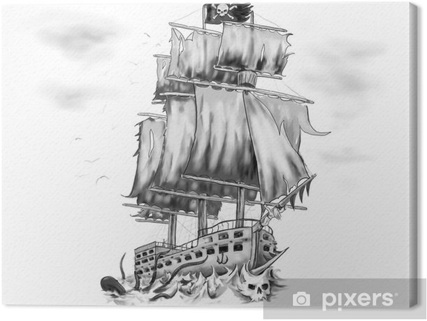 Tableau Sur Toile Tatouage Oeuvre Bateau Pirate Vaisseau Fantome Pixers Nous Vivons Pour Changer
