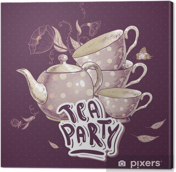 Tableau sur toile Tea party carton d'invitation avec un Coupes et Pot - Boissons chaudes