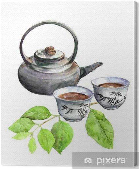 Tableau sur toile Teatime: pot de thé asiatique, tasse de thé et feuilles vertes. Aquarelle - Boissons