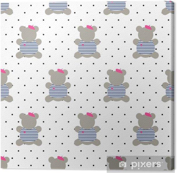 Tableau Sur Toile Teddy Bear Seamless Pattern Cute Cartoon Style