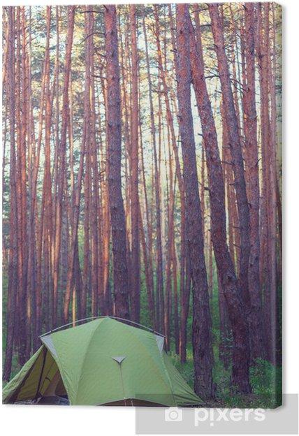 Tableau sur toile Tente dans la forêt - Vacances