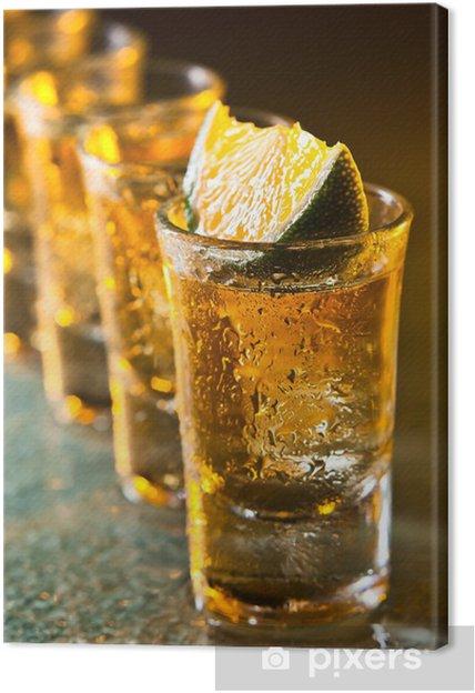 Tableau Sur Toile Tequila Et De Chaux Sur La Table De Verre