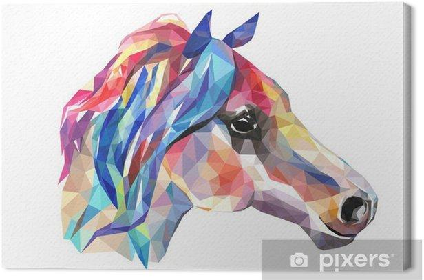 Tableau sur toile Tête de cheval, de la mosaïque. le style tendance géométrique sur fond blanc. - Animaux