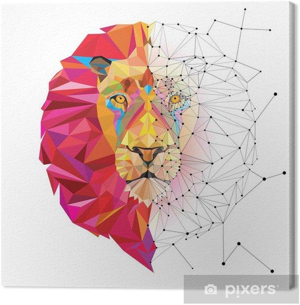 Tableau sur toile Tête de lion en motif géométrique avec le vecteur de ligne étoile - Autres Autres