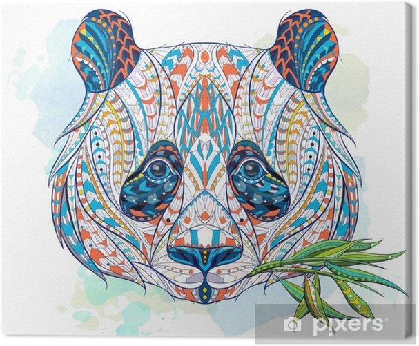 Tableau sur toile Tête de panda à motifs - Animaux