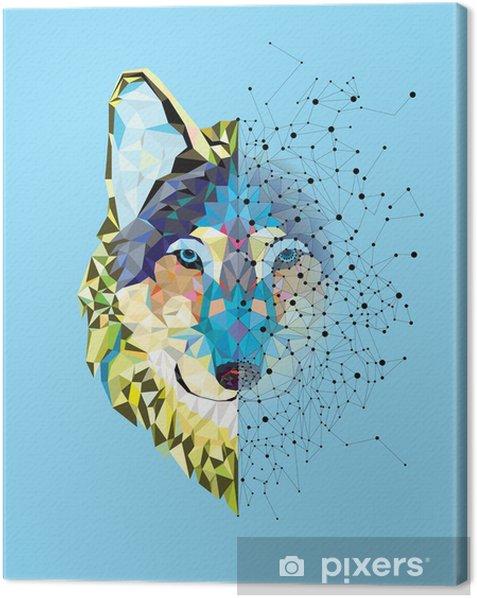 Tableau sur toile Tête Wolf en motif géométrique avec le vecteur de ligne étoile - Mammifères