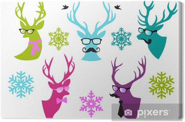 Tableau sur toile Têtes Cerf de Noël, vecteur ensemble - Fêtes internationales