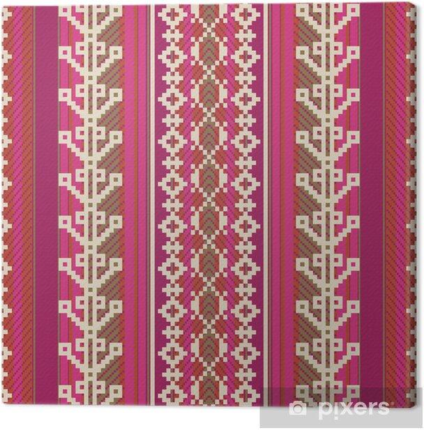 Tableau sur toile Textile modèle dans un style ethnique - Amérique