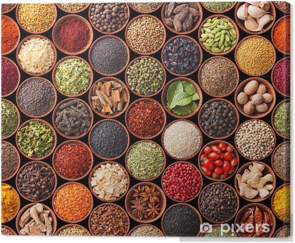 Tableau sur toile Texture homogène avec des épices et des herbes - iStaging